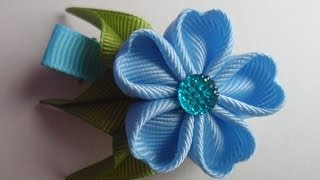 getlinkyoutube.com-Голубая заколка Канзаши , Мастер класс канзаши для начинающих / Blue hairpin kanzashi