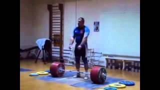 getlinkyoutube.com-Dmitriy Lapikov 215kg Snatch + 251 Clean and Jerk