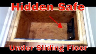 Secret hidden safe under sliding floor