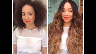 getlinkyoutube.com-MUST WATCH!Rihanna Omrbe Lace wig install Before & After