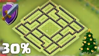 getlinkyoutube.com-Town Hall 9 Farming Base (Xmas update) | TH9 Protect Town Hall/Resources + Replays
