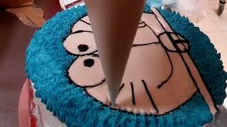 DORAEMON -- Cara Membuat Kue Ulang Tahun  Karater Doraemon width=