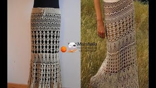 How to crochet maxi skirt free pattern tutorial by marifu6a