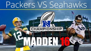 getlinkyoutube.com-Packers vs Seahawks in 2016 NFC Championship Game | Madden 16 Game Simulation