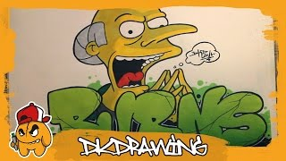 getlinkyoutube.com-How to draw graffiti letters Mr.Burns & Mr. Burns Character (The Simpsons)