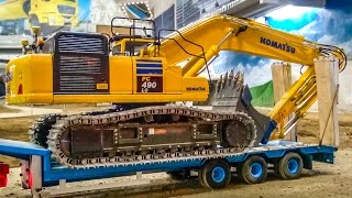 getlinkyoutube.com-Truck excavator HEAVY transport and loading at the construction site!