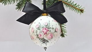 getlinkyoutube.com-Decoupage krok po kroku  - łatwa bombka z różami vintage