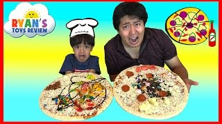 getlinkyoutube.com-PIZZA CHALLENGE RYAN TOYSREVIEW with Bean Boozled Gross Pizza Candy Surprise Eggs Opening