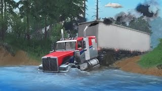 getlinkyoutube.com-SEMI TRUCK OFF-ROAD CHALLENGE | HAULING TRAILER | 18 WHEELER MUDDING - SpinTires Gameplay