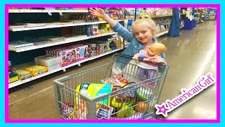 getlinkyoutube.com-American Girl Bitty Baby Dolls Grocery Shopping Trip & Kid Size Shopping Cart W/ Play Doh Girl