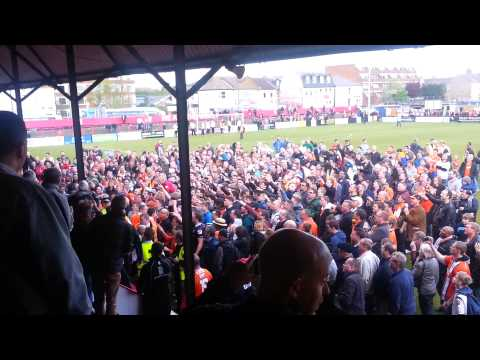 Luton fans celebrate at Welling(8)
