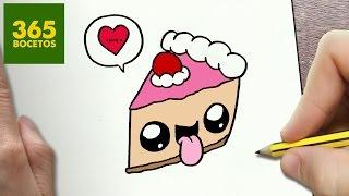 COMO DIBUJAR TARTA KAWAII PASO A PASO - Dibujos kawaii faciles - How to draw a CAKE