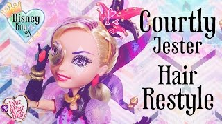 getlinkyoutube.com-Ever After High Courtly Jester Doll Hair Restyle Tutorial - How To Do a Heart Tail Bun