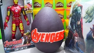 getlinkyoutube.com-Giant Marvel Avengers Age of Ultron Play Doh Surprise Egg with Iron Man Mark 43 and Spiderman Toys