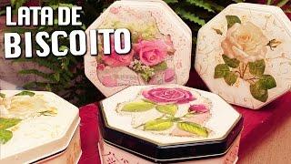 DECOUPAGE EM LATAS DE BISCOITO ❤ - CURSO DE ARTESANATO BELLA ART'S