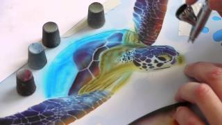 getlinkyoutube.com-Airbrush Tutorial: Turtle Sealife Stencil Harder & Steenbeck Airbrush Anleitung
