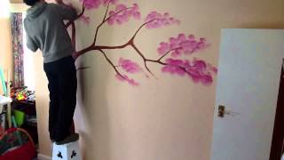 getlinkyoutube.com-Wall tree painting time-lapse