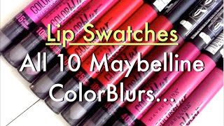 getlinkyoutube.com-Lip Swatches ♡ NEW Maybelline COLOR BLUR Matte Lip Pencils | Complete Collection 10 Shades