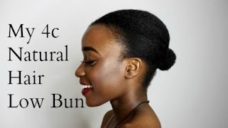 getlinkyoutube.com-My 4c Natural Hair Low Bun Tutorial