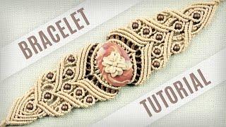 getlinkyoutube.com-Macrame Stone Bracelet Tutorial in Vintage Style | Boho DIY
