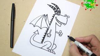 Dibujos Fáciles -Como Dibujar un Dragón - How To Draw Dragón