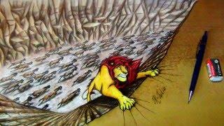 getlinkyoutube.com-Walt Disney | The Lion King | Король Лев | Speed Painting - Mufasa (Drawing 3D optical illusion)