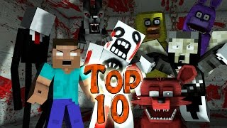 getlinkyoutube.com-Minecraft TOP 10 | Modded Top 10 Horror Mobs - Monsters! (Creepy Pasta, Slenderman, Herobrine)