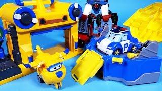 getlinkyoutube.com-Super Wings 슈퍼윙스 로보카폴리 Robocar Poli 폴리 & 도니 기지 또봇 델타트론 장난감 Robocar Poli Робокар Поли, Tobot