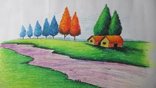 getlinkyoutube.com-How to Draw a Village landscape with Oil Pastel   Episode-15