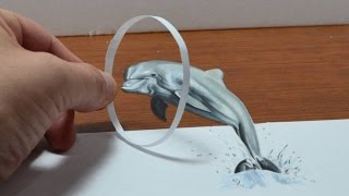 getlinkyoutube.com-Trick Art, Drawing a Dolphin, Anamorphic Illusion