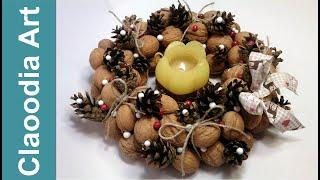 getlinkyoutube.com-Wianek z orzechów i szyszek (Wreath with nuts and cones)