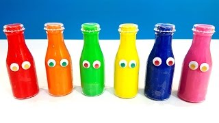 getlinkyoutube.com-Play and Learn Rainbow Colours With Bottles Play Doh Talk Animation Surprise Toy