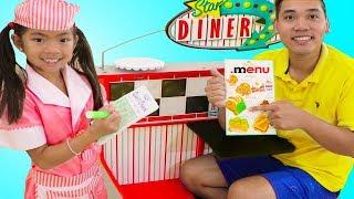 Emma Pretend Play as Waitress w/ Diner Restaurant Food Kitchen Kids Toys