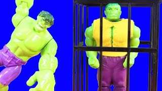 getlinkyoutube.com-Hulk Family Rescues Hulk Rage Cage Cousin Hulk Smash And Battles Imaginext Joker Bad Guys