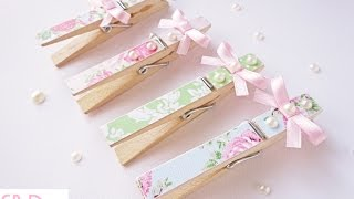 getlinkyoutube.com-Tutorial: Mollette decorate shabby - DIY shabby clothespins