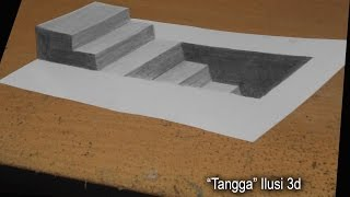 """Melukis Dengan Pensil 2B - ILUSI 3D """"Tangga"""""""