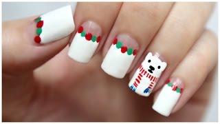 getlinkyoutube.com-Winter / Christmas Nail Art!!! Polar Bear Wearing A Scarf!   MissJenFABULOUS