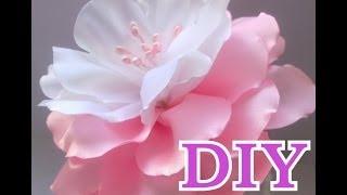 getlinkyoutube.com-Цветок Канзаши Мастер Класс Своими Руками Flower Кanzashi Hand Made - нежный бело- розовый цветок)
