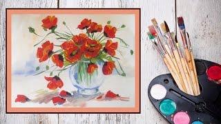 getlinkyoutube.com-Уроки рисования! Как нарисовать маки/цветы в вазе гуашью! #Dari_Art