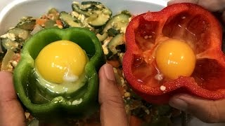 getlinkyoutube.com-Egg inside Bell Pepper Fun Recipe