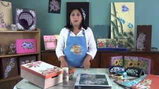 getlinkyoutube.com-Como pintar en acrílico con técnica americana - Cuadro de rosas vintage.COMO PINTAR UMA ROSA