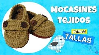 getlinkyoutube.com-Mocasines tejidos a crochet con botón | varias tallas