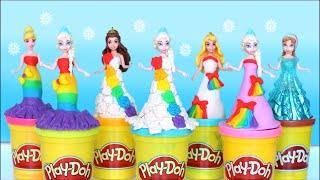 getlinkyoutube.com-Play Doh Video! Rainbow Dresses Maker Princess Dress Up Disney Frozen Elsa play doh 2016
