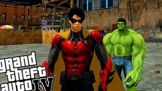 getlinkyoutube.com-ROBIN VS HULK - EPIC BATTLE (Grand Theft Auto IV - Superhero Mod)