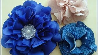 getlinkyoutube.com-BEAUTIFUL BLUE SILKY FLOWER, how to make a fabric flower