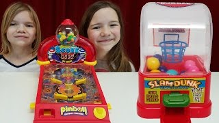 getlinkyoutube.com-Gum games challenge!  Pinball, Skee Ball, Basketball gumball machines! | Time For Toys | Babyteeth4