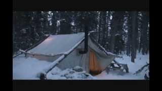 getlinkyoutube.com-Canvas tent with a wood stove 2012