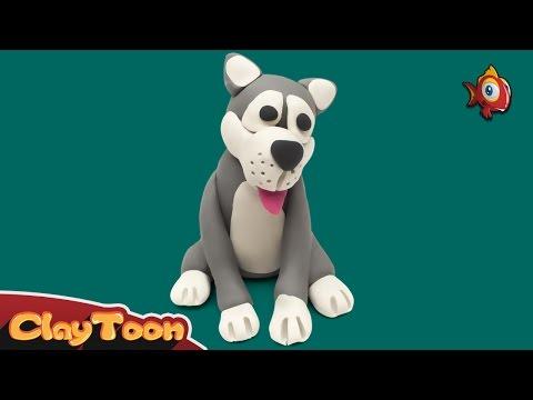 Husky dog - Polymer clay tutorial | كلب هاسكى - تشكيل صلصال