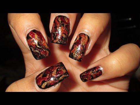 Mockingjay (Part 1) Firey Drag Marble Nail Art Tutorial