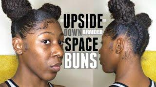 getlinkyoutube.com-How To: UPSIDE DOWN BRAIDED SPACE BUNS on Curly Natural Hair | Short/ Medium Length